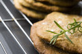 Homemade rustical crackers with rosemary Royalty Free Stock Photo
