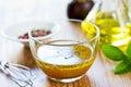 Homemade salad dressing whole grain mustard vinaigrette by fresh ingredients Royalty Free Stock Image