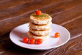 Homemade Salty Cheese Pancakes with dill and fresh tomato Royalty Free Stock Photo