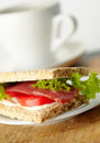 Homemade sandwich with bacon Stock Photography