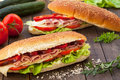 Homemade sandwiches with ham and cheese Stock Images