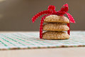 Homemade sesame seed cookies with red striped bow Stock Images