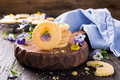 Homemade shortbread cookies with edible flowers Royalty Free Stock Photo