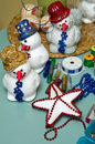 Homemade snowmen decorations unique christmas colorful beads applied on polystyrene toys handicraft creation Royalty Free Stock Image