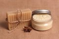 Homemade soap and body butter Royalty Free Stock Photo