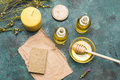 Homemade soap, essential oil, candle and honey for beauty care