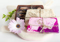 Homemade soap and flower selective focus Stock Photography