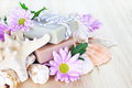 Homemade Soap with Flowers and Shells Royalty Free Stock Photos