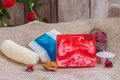Homemade soap and luffa Royalty Free Stock Photo