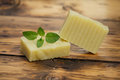 Homemade soap peppermint and peppermint leaf Royalty Free Stock Photos