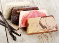 Homemade soap with vanilla on a wooden table selective focus Royalty Free Stock Photo