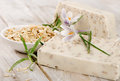 Homemade soap on a wooden table selective focus Stock Photo