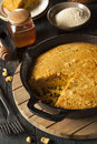 Homemade southern style cornbread in a skillet Royalty Free Stock Images