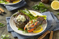 Homemade Steak and Lobster Surf n Turf Royalty Free Stock Photo