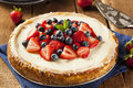 Homemade strawberry and blueberry cheesecake for dessert Royalty Free Stock Images