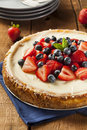 Homemade strawberry and blueberry cheesecake for dessert Royalty Free Stock Photo