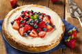 Homemade strawberry and blueberry cheesecake for dessert Stock Photo