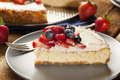 Homemade strawberry and blueberry cheesecake for dessert Stock Photography