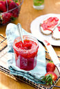 Homemade strawberry confiture for breakfast selective focus Royalty Free Stock Image