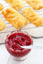 Homemade strawberry jam with apple turnovers Royalty Free Stock Image