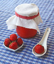Homemade strawberry jam and fresh strawberries Stock Image