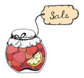 Homemade strawberry jam hand drawn vector illustration of pots of with sale text on label isolated on white background Stock Image
