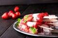 Homemade strawberry yogurt ice cream popsicles Royalty Free Stock Photo