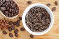 Domácí cukr olivový olej a země káva a tělo vydrhnout