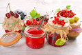 Homemade summer fruit preserves jars of Royalty Free Stock Photography