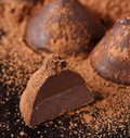 Homemade sweet chocolate truffle cocoa powder Stock Photos