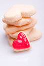 Homemade sweet red heart cookies Stock Image