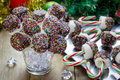 Homemade sweetness with candy cane, marshmallow, chocolate and sprinkles. Royalty Free Stock Photo