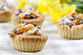 Homemade tarts with dried fruits on checked table cloth Royalty Free Stock Photo
