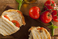 Homemade tomato and mozzarella panini with basil Stock Photos