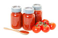 Homemade tomato sauce preserved jars later use shot white background Royalty Free Stock Image