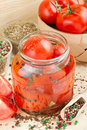 Homemade tomatoes preserves in glass jar Stock Photography