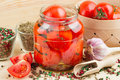 Homemade tomatoes preserves in glass jar Royalty Free Stock Images