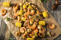 Homemade Traditional Cajun Shrimp Boil Royalty Free Stock Photo