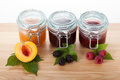 Homemade traditional recipe jams jars of fruit Royalty Free Stock Photos