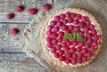 Homemade traditional sweet raspberry tart pie with