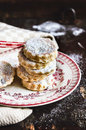 Homemade traditional welsh cakes with raisin and powdered sugar Royalty Free Stock Photo