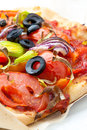 Homemade vegetarian pizza topped delicious sliced fresh vegetables cheese olives closeup view shallow dof Royalty Free Stock Photo