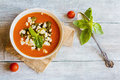 Homemade vegetarian tomato soup with feta cheese and pesto sauce in white bowl on wooden background Royalty Free Stock Photo