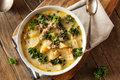 Homemade warm creamy tuscan soup with sausage and kale Stock Photos