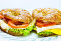 Homemade whole wheat croissant sandwich with bacon and egg Royalty Free Stock Photography