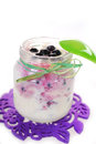 Homemade yogurt with blueberry for baby jar of fresh Royalty Free Stock Images