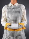 Homemaker Holding Tray with Blank Card Royalty Free Stock Photography
