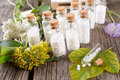 Homeopathic globules lactose sugar in glass bottles with plants Stock Images