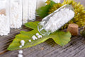 Homeopathic globules lactose sugar in glass bottles with plants Royalty Free Stock Photos