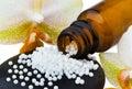 Homeopathy. Globules as alternative medicine Royalty Free Stock Photo